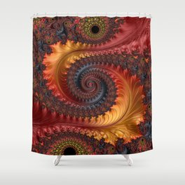 Feathery Flow - Red Fractal Art Shower Curtain