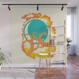 Retro design of flying space rocket Wall Mural