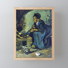 Gogh Peasant Woman Cooking by a Fireplace Framed Mini Art Print