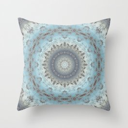 Gray blue kaleidoscope Throw Pillow