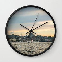Turkish Sunset | Istanbul Turkey City Skyline Landscape Yellow Orange Color Sky Water Waves Wall Clock