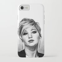 jennifer lawrence iPhone & iPod Cases featuring Jennifer Lawrence by Cécile Pellerin
