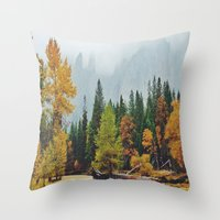 yosemite Throw Pillows featuring Yosemite by Warren Silveira + Stay Rustic