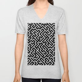Maze -Black and Silver- Unisex V-Neck