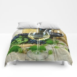 Glasses of Wine plus Grapes and Barrel Comforters