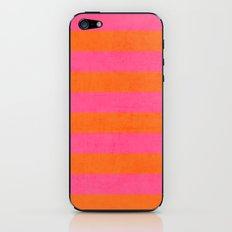 hot pink and orange stripes iPhone & iPod Skin