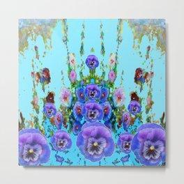MODERN BLUE WESTERN GARDEN  PURPLE PANSY FLOWERS Metal Print
