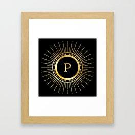 Retro line art letter P Framed Art Print