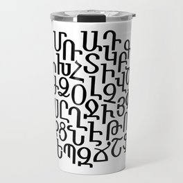 ARMENIAN ALPHABET MIXED - Black and White Travel Mug