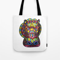 hippo Tote Bags featuring Hippo. by Farkas