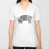 pig V-neck T-shirts featuring Pig by Ejaculesc