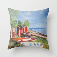 sweden Throw Pillows featuring Ystad, Sweden by Bridget Kingsford