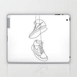Sneakers simple minimal one line art, hanging shoes branded shoes  Laptop & iPad Skin