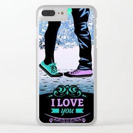 Couple Love massage texture Clear iPhone Case
