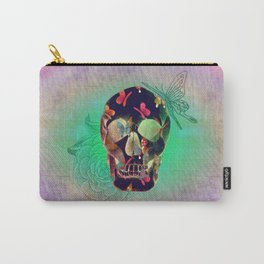 Colorful Hand Drawn Skull with Butterflies on Canvas Carry-All Pouch
