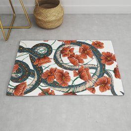 Let Go, Let Grow – Teal Snake in Red Poppies Rug
