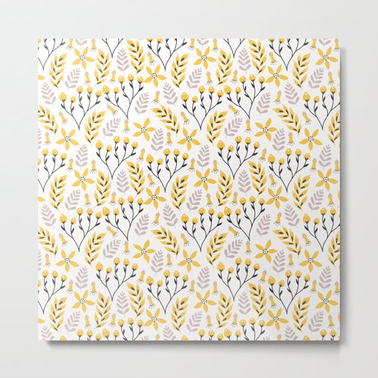 Yellow Floral on White Metal Print