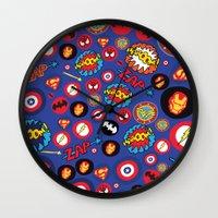 super hero Wall Clocks featuring Movie Super Hero logos by Nick's Emporium