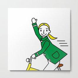 Cycling Girl Metal Print