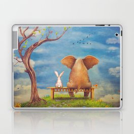 Elephant and rabbit sit on a bench on the glade Laptop & iPad Skin