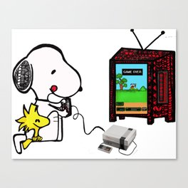 Game on Snoopy Canvas Print