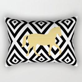 Horse - geometric pattern - beige, black and white. Rectangular Pillow