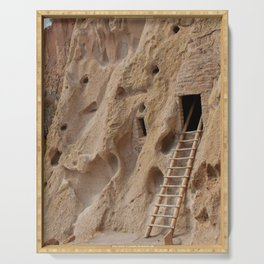 Ancient Native American cliff dwellings in Bandelier National Monument, New Mexico Serving Tray