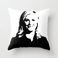 leslie knope Throw Pillows featuring Leslie Knope by Bjarni Bragason