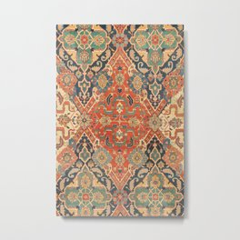 Geometric Leaves VII // 18th Century Distressed Red Blue Green Colorful Ornate Accent Rug Pattern Metal Print