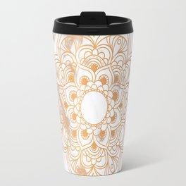 Copper flower mandala - marble Travel Mug
