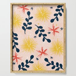bold floral retro print Serving Tray