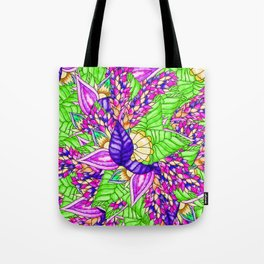 Bright purple green floral pattern waercolor illustration Tote Bag