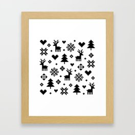 PIXEL PATTERN - WINTER FOREST Framed Art Print