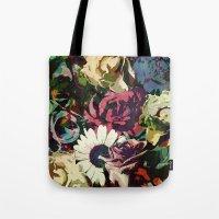 karu kara Tote Bags featuring Daisy among Roses by Klara Acel