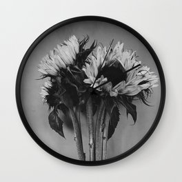 Black and White Sunflowers Wall Clock