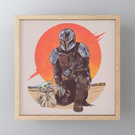 """The Mandalorian and The Child"" by Hillary White Framed Mini Art Print"