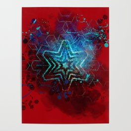 Glowing abstract blue star on blood red Poster