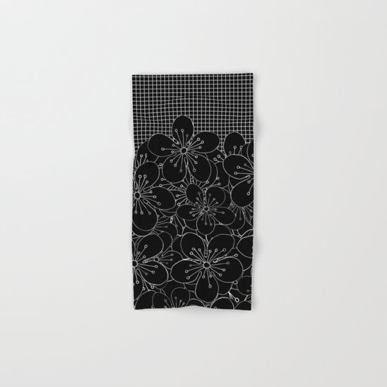 Cherry Blossom Grid Black Hand & Bath Towel