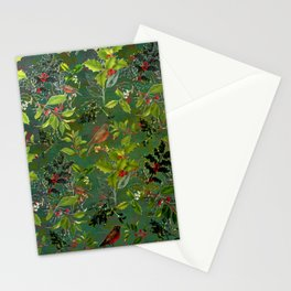 Christmas Pattern with Green Background Stationery Cards