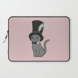 Grey Cat Wears Plumed Top Hat Laptop Sleeve