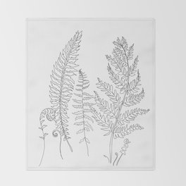 Minimal Line Art Fern Leaves Throw Blanket