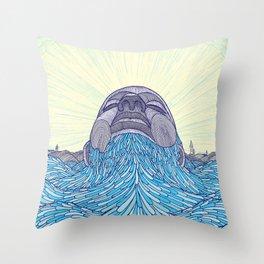 Ocean Face Throw Pillow