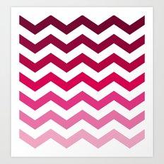 Pink Ombre Chevron Art Print