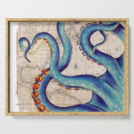 Octopus Tentacles Vintage Map Blue Serving Tray