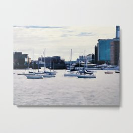 Boats in Boston Harbor Metal Print