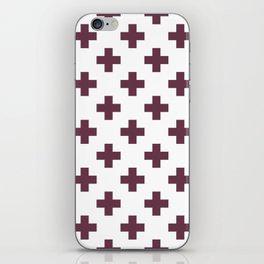 Burgundy Plus Sign Pattern iPhone Skin