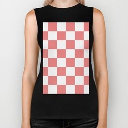 Large Checkered - White and Coral Pink Biker Tank