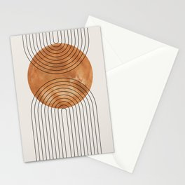 Abstract orange watercolor circle line art hand drawn illustration. Lovely abstract art. Elegent home decor. Stationery Cards