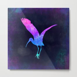 STORK IN SPACE // Animal Graphic Art // Watercolor Canvas Painting // Modern Minimal Cute Metal Print
