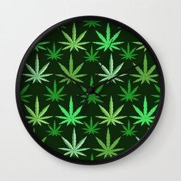 Marijuana Green Leaves Weed Wall Clock